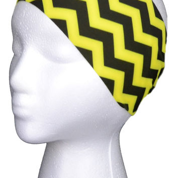 Yellow and Black Chevron Spandex Headband