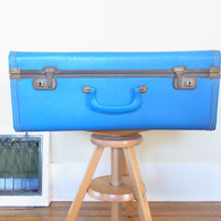 blue suitcase/ old suitcase/ vintage suitcase vintage luggage antique luggage old luggage wedding card holder suitcase for wedding cards
