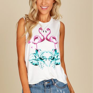 Flamingo Print Top Ivory