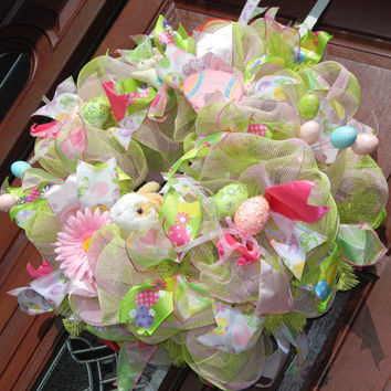 Pink Green Easter Deco Mesh Wreath, Pink Green Deco Mesh, Easter Wreath, Easter bunny wreath, Easter Egg Wreath, Spring Wreath, Easter Decor