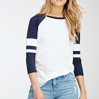 Varsity-Striped Baseball Tee