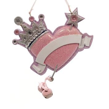 Personalized Ornament CROWN HEART Polyresin Christmas Bells D2192 Blank