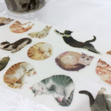 Cat washi tape 10M x 2.5CM cat EXTRA WIDE washi masking tape funny cat pussy cat fat cat sticker tape cat planner diary scrapbook meow gift