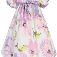 Lilac Floral Print White Cotton Spring Occasion Dress with Taffeta Trim (Baby Girls Sizes)