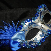 Venetian Masquerade Mask in Shades of Blue and Silver