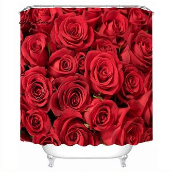 Scenic Shower Curtains 150*180cm Roses Waterproof Polyester Bathroom Shower Curtain Decor With Hooks Bathroom Curtains D5