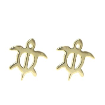 YELLOW GOLD SILVER 925 HAWAIIAN HONU TURTLE STUD POST EARRINGS EXTRA SMALL 7.7MM