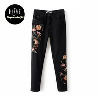 Women'S Embroidered Flowers Slim Denim Trousers American Apparel Full Length Pencil Pants Jeans With Embroidery Denim Femme