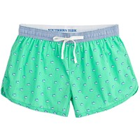 Women's Skipjack Lounge Short in Sea Glass with Blue Waistband by Southern Tide