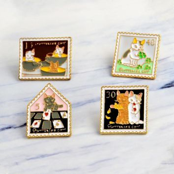 Trendy Miss Zoe Cat Stamp Vintage Cartoon Cat pins Cat brooches Cute Animal Pin Denim Jacket cap Pin Buckle Shirt Badge Gift for Friend AT_94_13