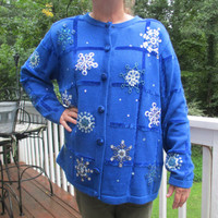 Snowflake Sweater, Tacky Christmas Sweater, Blue Sweater, Tacky sweater, Holiday Sweater