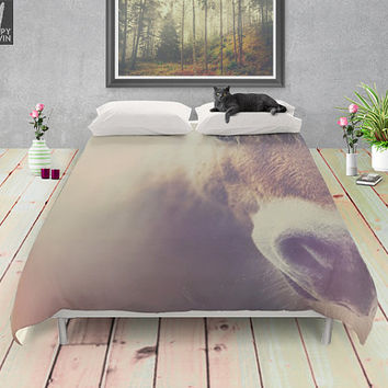 The curious girl, duvet cover, horse, bedding, horse bedding, home decor, for the bed, animal decor, horse photo, photo, cover, bed cover.