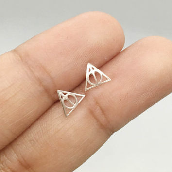 Harry Potter Stud Earrings, Sterling Silver Harry Potter Deathly Hallows Post Earrings, Harry Potter Jewelry, Potterhead jewelry, Triangle