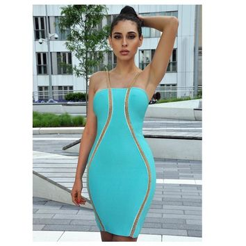 2017 chic summer dress Sexy metal Luxury Bandage Dress sequined Elegant spaghetti strap celebrity Party Dresses club Vestidos