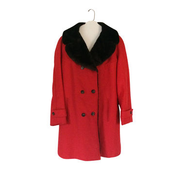 Vintage Brown Faux Fur Coat Women Red Coat Women Winter Coat Faux Fur Jacket Women Outerwear 60s Coat 70s Coat Women Clothing Women Clothes