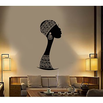 Vinyl Wall Decal African Native Turban Girl Silhouette Stickers (3316ig)