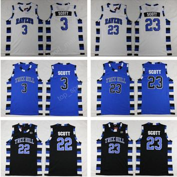 One Tree Hill Ravens Jerseys Man 3 Lucas 23 Nathan Brother Movie Basketball Jerseys Sports Stitching Team Purple Black White