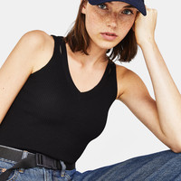 Top with double straps - New - Bershka United States