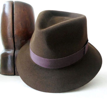 Brown Fur Felt Fedora - Wide Brim Beaver Fur Felt Handmade Fedora Hat - Men Women
