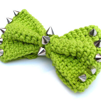 Spiked Crocheted Bow  Size MEDIUM  Hair Bow by pinkavenger on Etsy