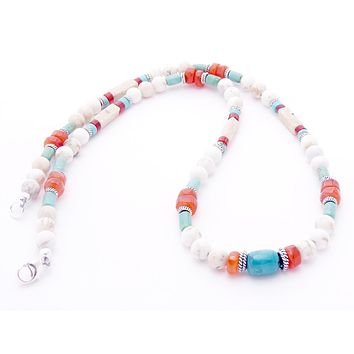 DAMALI Turquoise Mens Chakra Necklace, Beaded Gemstone Necklace, Handmade Jewelry for Men, Guys, Dads, Him - Jewels for Gents