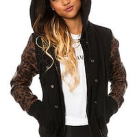The Wool Varsity Jacket in Black Leopard