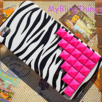 Bright Hot Pink Pyramid Studs on Black White Zebra Back Case Cover for Apple iPhone 4 4G 4S AT&T Verizon Sprint