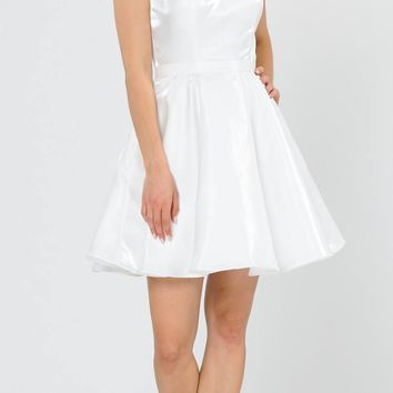 Sleeveless Off White Homecoming Short Dress with Pockets