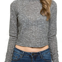The Rib Knit Fitted Crop Top in Gray