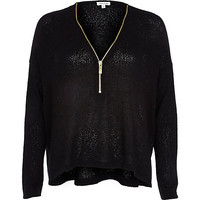 River Island Womens Black knitted zip front top