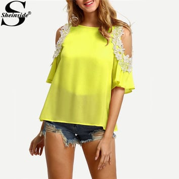 Sheinside Lace Applique Tunic Blouse Open Shoulder Tops 2017 Yellow Sexy Women Patchwork Summer Tops Cut Out Keyhole Back Blouse