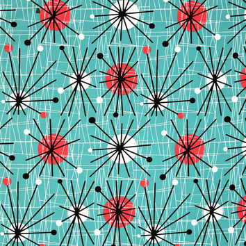 Michael Miller MID CENTURY MODERN Atomic Turquoise cotton fabric 1/2 yard