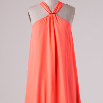 South of the Border Halter Dress - Neon Coral