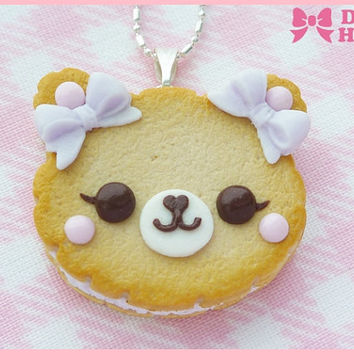 Cookie Bear With Lilac Bows  Necklace by Dolly House