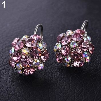 Popular Women's Colorful Zircon Silver Tone Eardrop Leverback Earrings