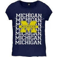 Michigan Wolverines - Rhinestone Ray Girls Youth T-Shirt