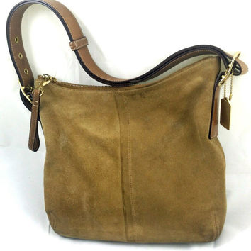 Coach Bag100% Authentic Signature Suede Tan Brown Zip Shoulder Handbag Medium
