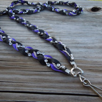 Black and Purple Braided Ribbon & Chain Lanyard