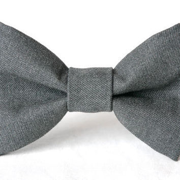 Smokey Grey Cotton Dog Bow Tie