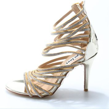 Luxury Crystal Straps Women Sexy Gold Sandals Open Toe Ladies BlingBling High Heels Female Fashion Dress Shoes Party Shoe Size42