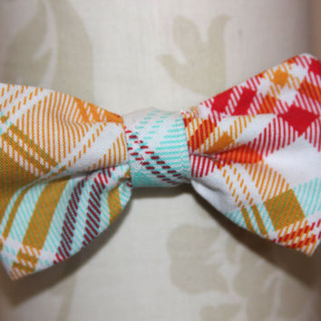 Bright Pink Orange Blue Plaid Adjustable Bowtie (baby / infant / toddler boy)