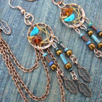copper and dark turquoise dreamcatcher chained ear cuff SET turquoise czech beads cuff in boho gypsy hippie hipster native and tribal fusion