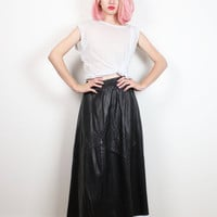 Vintage Leather Skirt 1980s Evan Arpelli Soft Black Leather Midi Skirt Minimalist Classic 80s Flared Elastic Waist Panel Skirt S M Medium L