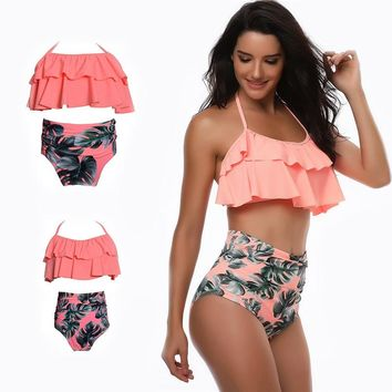 Women Girl High Waist Bikini Set Ruffles 2 Pieces Swimwear For Mother and Daughter Swimsuit Bikinis Family Matching Outfits Look