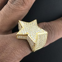 Custom Men's Fully Iced Out 14k Gold Finish Star Sterling Silver Ring