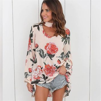Women Chiffon Blouse Sexy Summer Floral Print Choker V-Neck Blouse Casual Long Sleeve Blouse Shirt Loose Tops Plus Size Blusas
