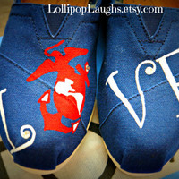 Marine Corps, EGA, Love Hand Painted Toms