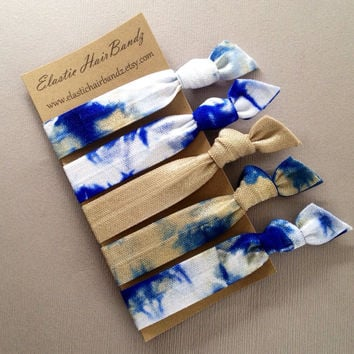 The Denim Tie Dye Hair Tie-Ponytail Holder Collection - 5 Elastic Hair Ties by Elastic Hair Bandz on Etsy