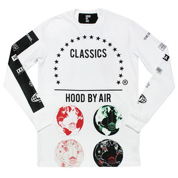 HOOD BY AIR Long Sleeve Globe Tee - Hood By Air - A Very Based You
