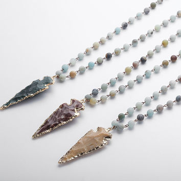 Stone Arrowhead Pendant Necklace
